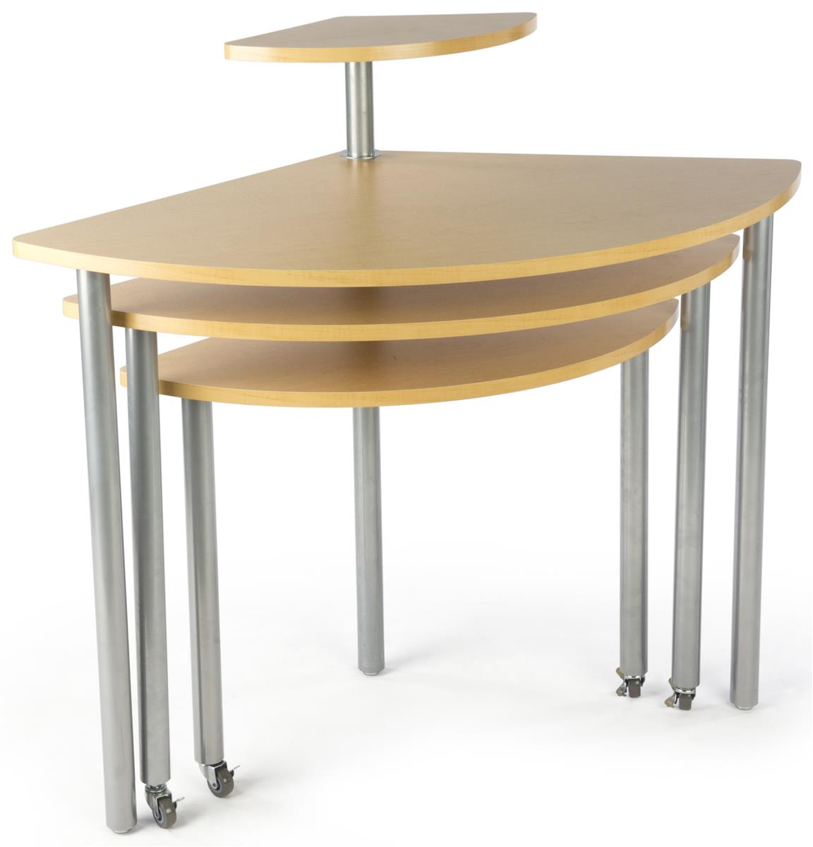 Maple Rotating Retail Display Table 4 Tiers. Full resolution  photo, nominally Width 1152 Height 1200 pixels, photo with #8F703C.