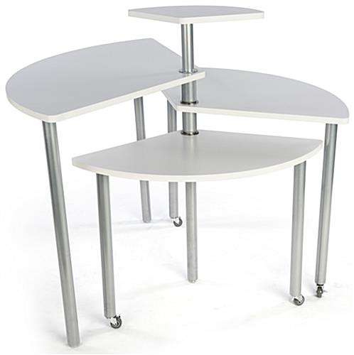 White Rotating Retail Display Table is Nesting