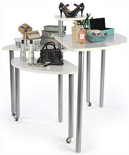 White Rotating Retail Display Table on Wheels