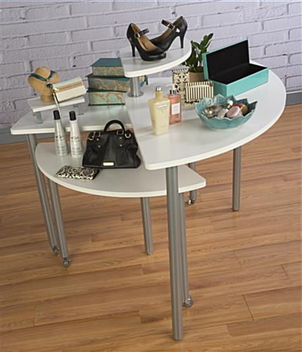 White Nesting Table For Retail Store ~ White rotating retail display table tiers