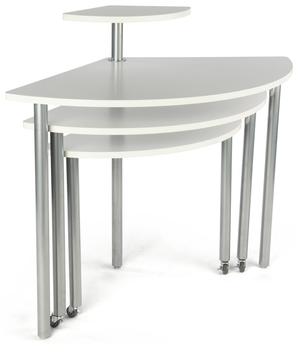 White rotating retail display table tiers