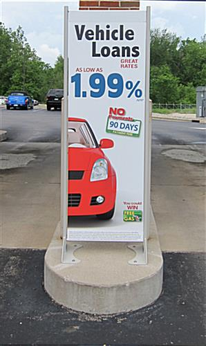 "18"" x 72"" Gray Permanent Banner Stand Sustains Up TO 60 MPH winds"