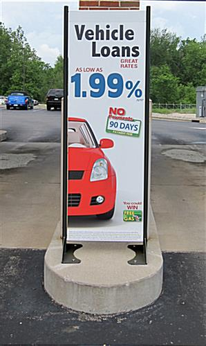 "20"" x 72"" Black Permanent Banner Stand with Single Sided Graphic, Sustains Outdoor Conditions"