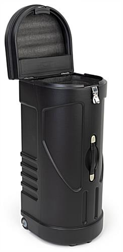 travel case podium stand includes an ultra-strength butterfly latch