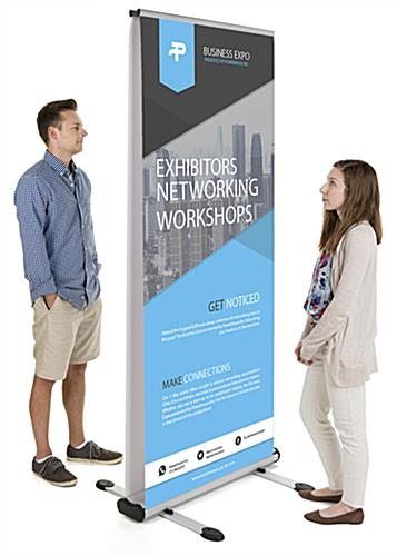 Outdoor double-sided banner display stand for 2 custom prints