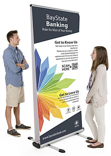 Wide outdoor double-sided banner stand for 2 custom printed graphics