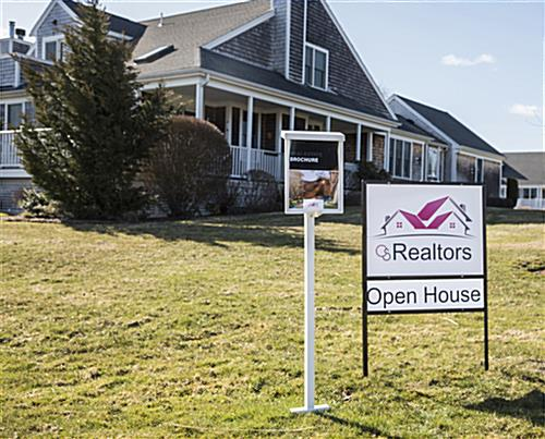 Outdoor flyer holder with stake and real estate sign