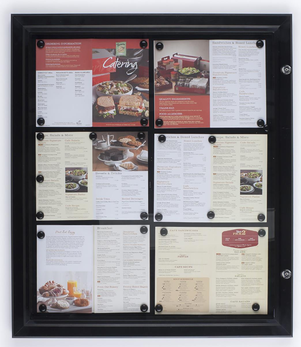 Restaurant Menu Case Magnetic Surface With Locking Cabinet