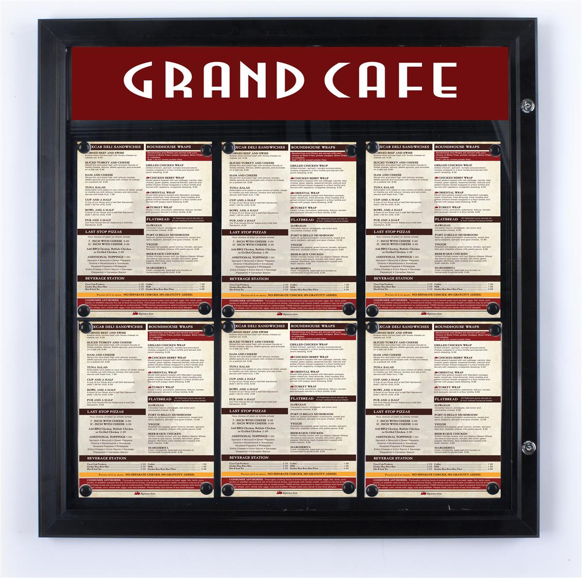 Outdoor Menu Cases Locking Door To Protect Signage