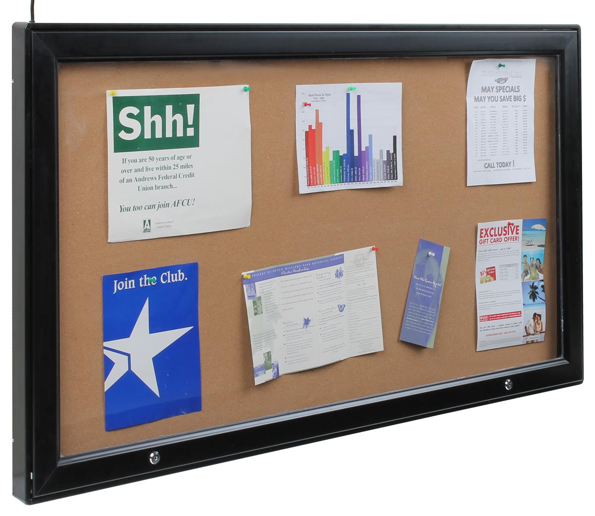Displays2go 58 x 33 Enclosed Cork Board for Outdoors, Ill...
