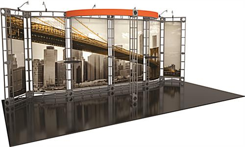 20ft wide frame and graphics with Orbus truss trade show exhibit display booth