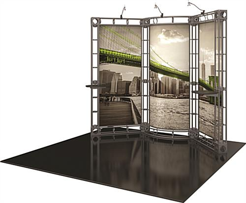 10ft trade show display kit with two adjustable tabletops