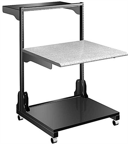 Computer Workstation Cart with 2 Lockable Casters