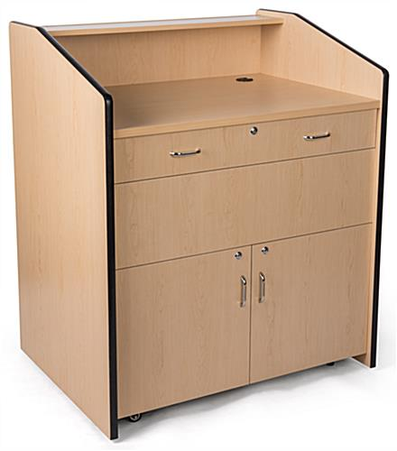 Multimedia podium with locking storage and cable management
