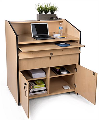 Multimedia podium with locking storage and adjustable shelves
