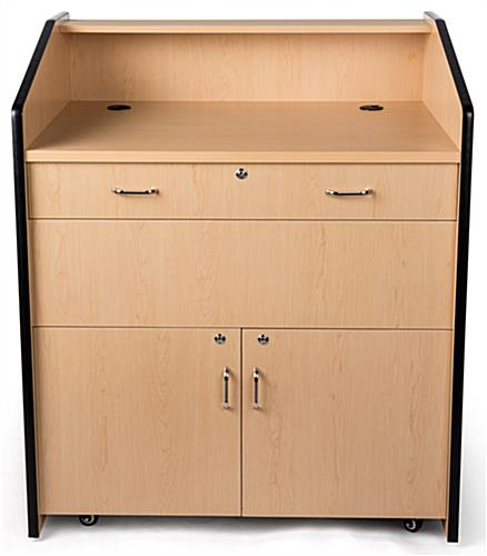 Multimedia podium with locking storage and wide surface area