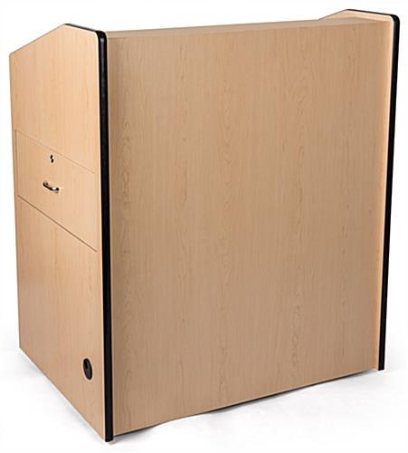 Multimedia podium with locking storage cabinet