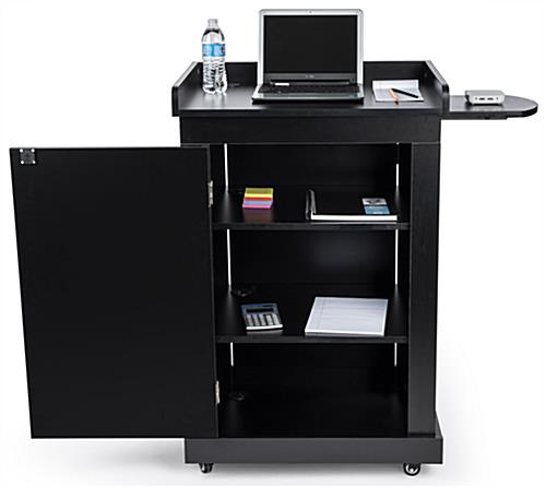 School podium on wheels with ample storage space