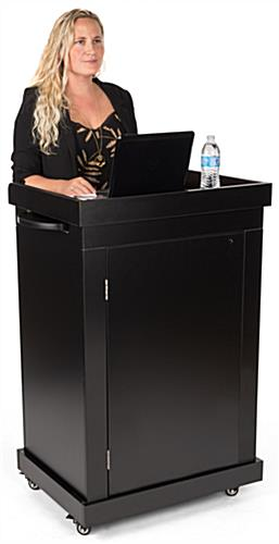 School podium on wheels with wide surface area