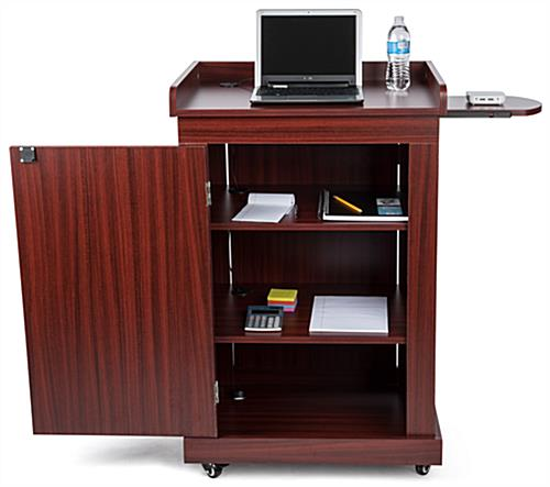 Lecture podium with cabinet and adjustable shelves