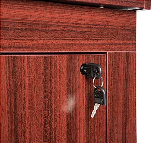 Lecture podium with cabinet secured by lock and key
