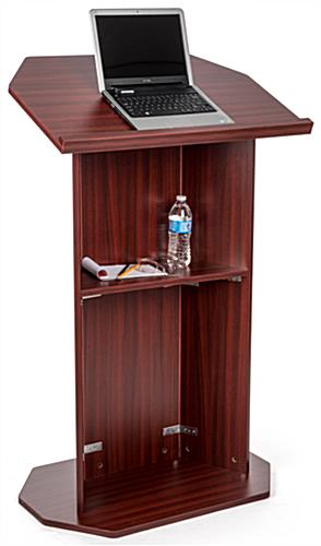 Wood affordable lectern with storage shelf