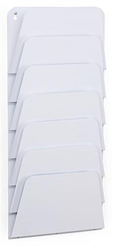Seven Tiered Wall Mount White File Pocket