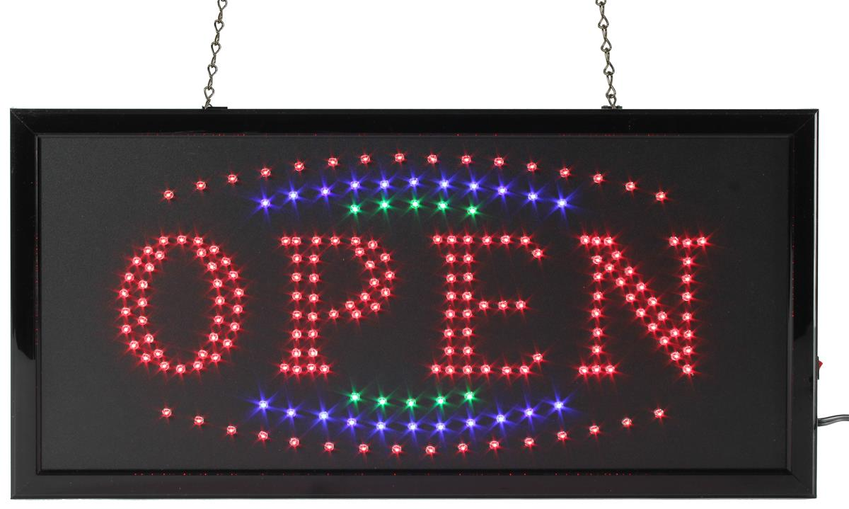 Open LED Flashing Sign | Radiating Red, Blue & Green Animation