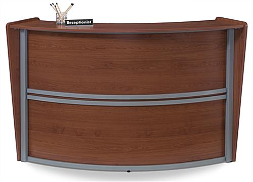 Wood Reception Desk with Silver Framing
