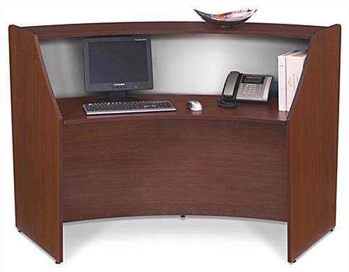 "Wooden Reception Desk with 13""d Transaction Counter"