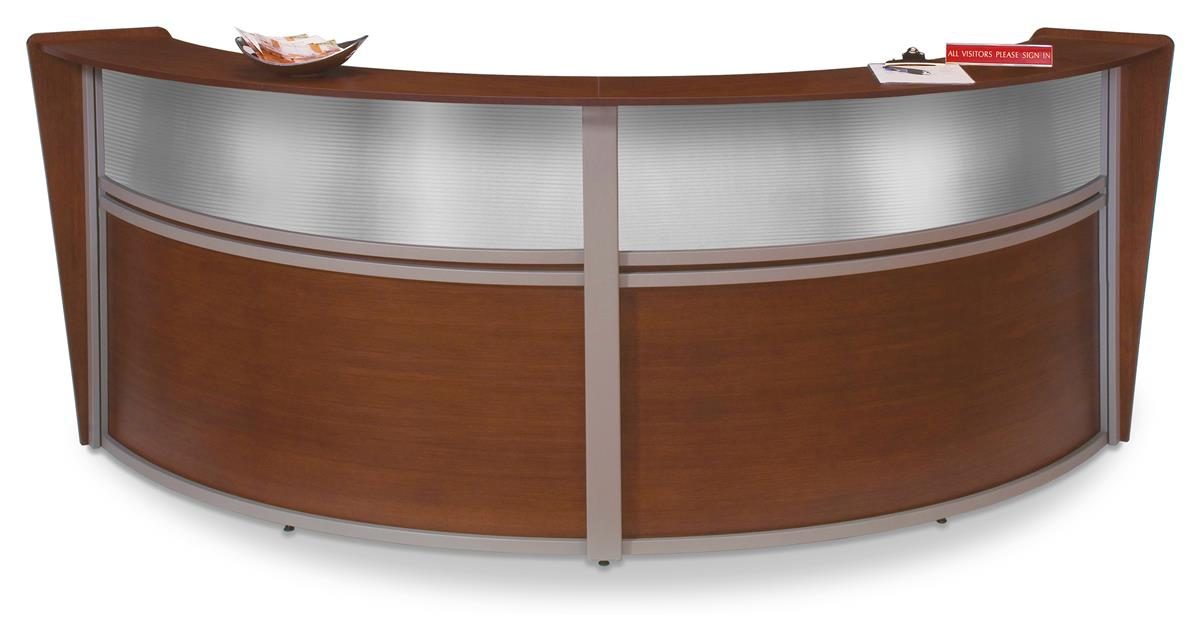Fine 124 25W Reception Desk With Arc Design Thermo Fused Melamine Wood Finish Cherry Home Interior And Landscaping Ologienasavecom
