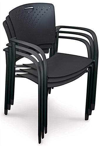 "Black Stacking Chairs, 35"" Tall"