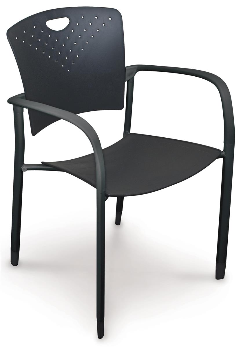 Black Stacking Chairs Curved Back And Arms