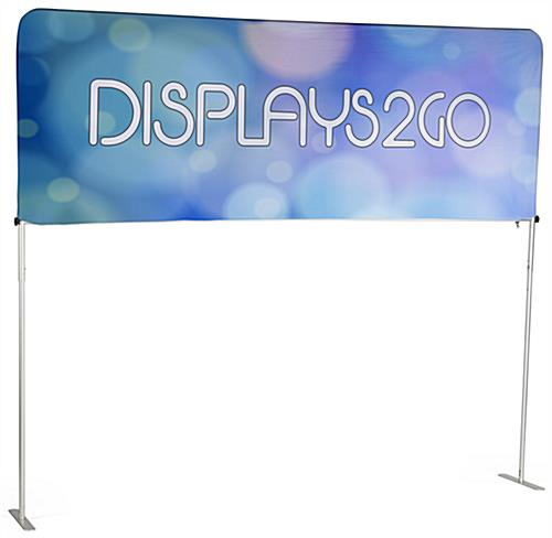 The 8' Trade Show Table Header Displays a Double Sided Banner for Your Custom Graphics