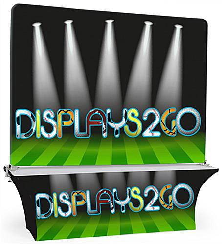 The 8' Trade Show Table & Backdrop are Customizable and Easy to Assemble