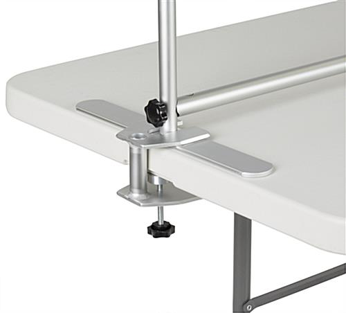 The 8' Trade Show Table Header Comes With An Aluminum Clamp for Table Mounting