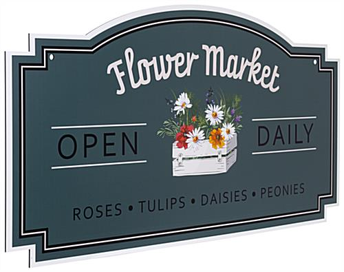 24 x 48 hanging outdoor shaped signs with double-sided artwork