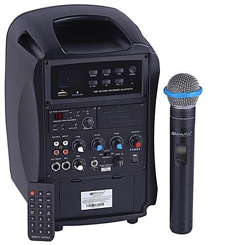 All-in-one wireless compact PA media system with remote and microphone