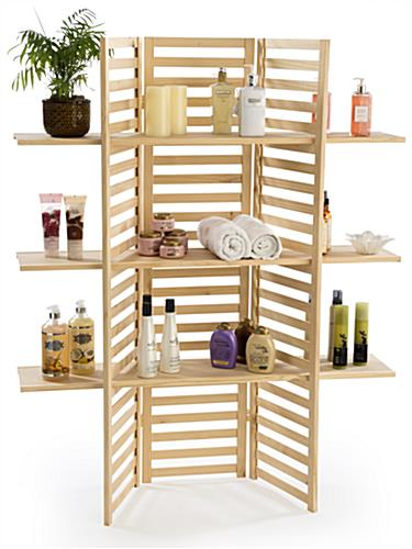 Wooden Display Rack 3 Tier Folding Panels In Natural Pine