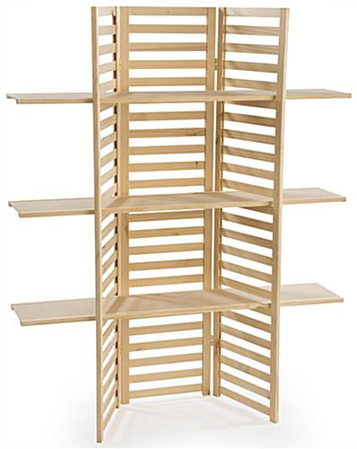Folding Shelves wooden display rack | 3-tier folding panels in natural pine