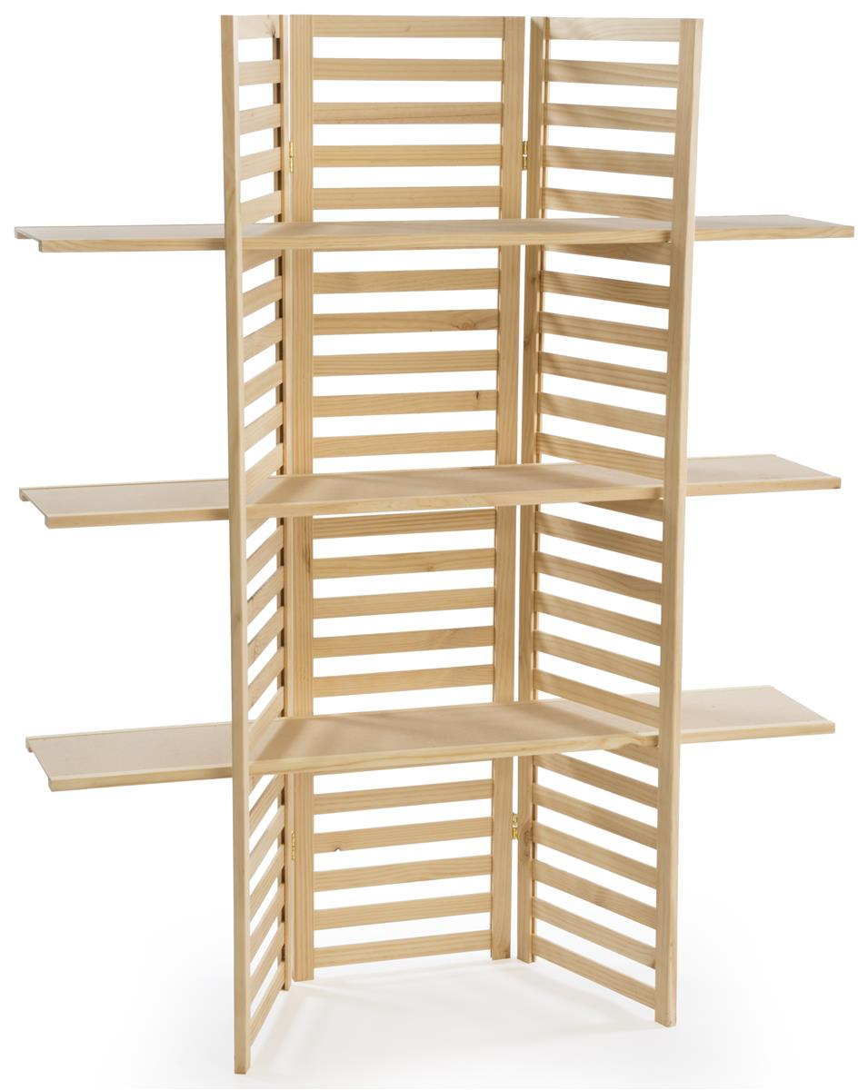 Wooden display rack tier folding panels in natural pine