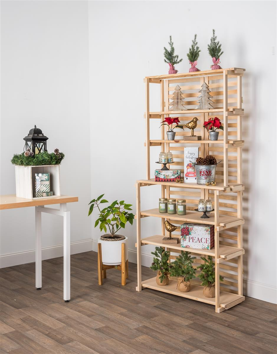 Wooden Retail Shelving Unit W 6 Shelves Pine Wood