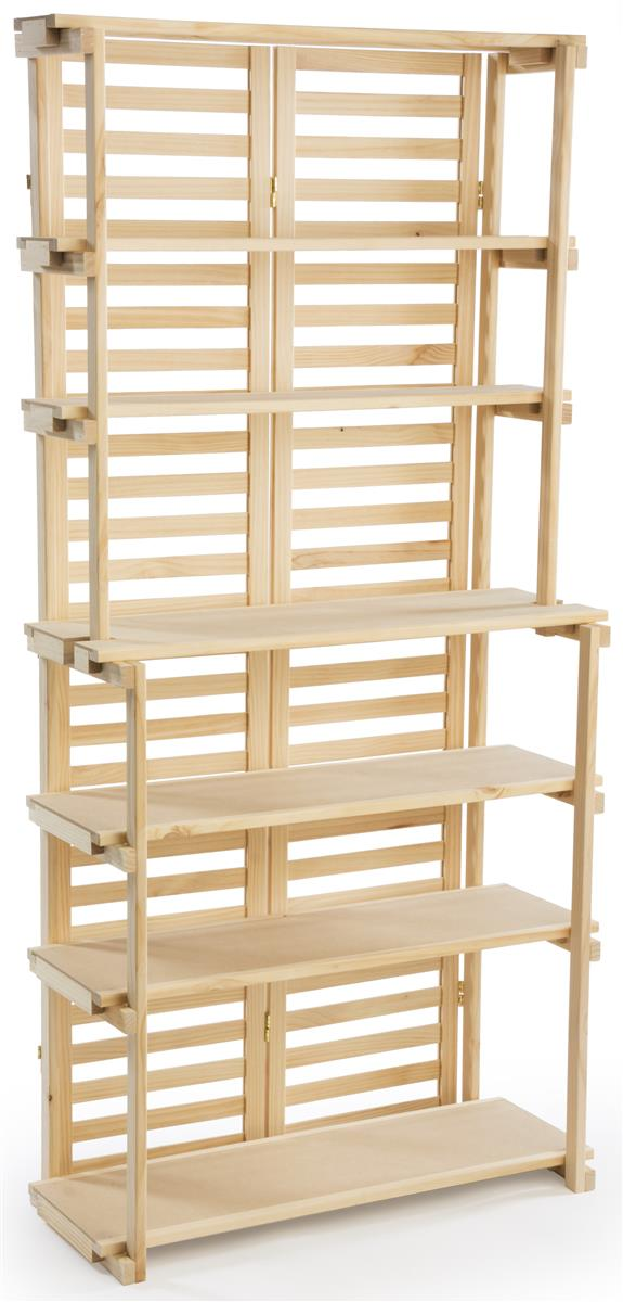 Wooden bakers rack natural pine display with shelves