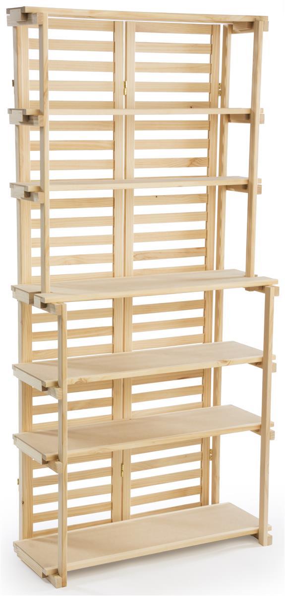 Displays2go Wooden Retail Shelving Unit w/ 6 Shelves - Pi...