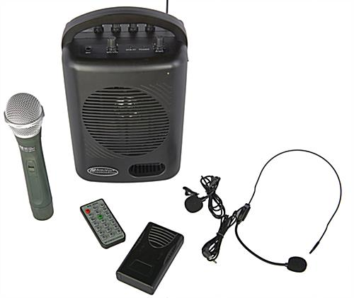 All-in-one PA wireless media package with different microphone styles