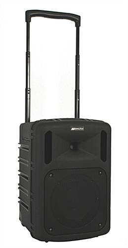 Portable wireless PA system has built-in handle