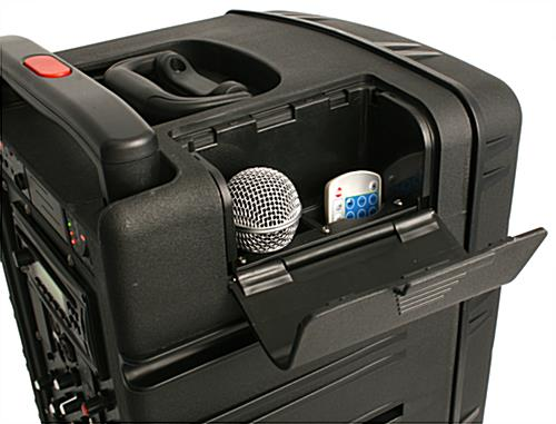 Portable wireless PA system with integrated storage hatch