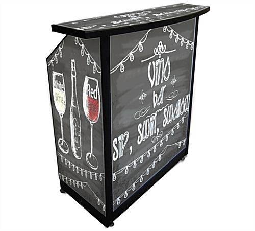 "Custom Compact Portable Bar with Graphic Art is 40"" Wide"
