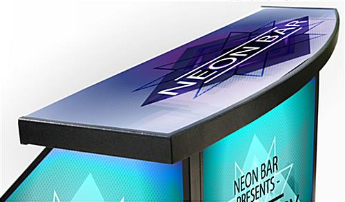 "Curved Counter Custom Graphic LED 40"" Portable Bar"