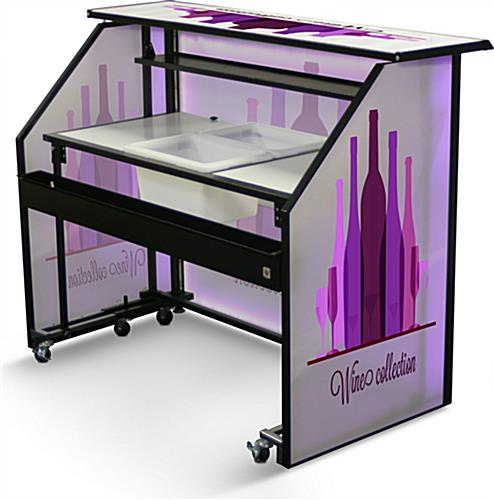 "Accessorized Custom Graphic LED 62.75"" Portable Bar"